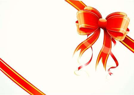 Ilustración vectorial de arco regalo rojo brillante y cinta envuelto alrededor de un rectángulo como un regalo