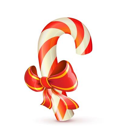 caramelos navidad: Ilustraci�n vectorial de bast�n de caramelo rojo brillante de Navidad con arco Vectores