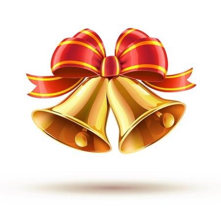 campanas navidad: Ilustraci�n vectorial de campanas de Navidad doradas brillantes decoradas con lazo rojo
