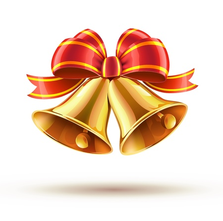 jingle bells: Vector illustration of shiny golden Christmas bells decorated with red bow Illustration