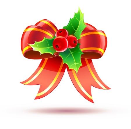 muerdago: Ilustración de hojas de acebo y bayas con lazo rojo Vectores