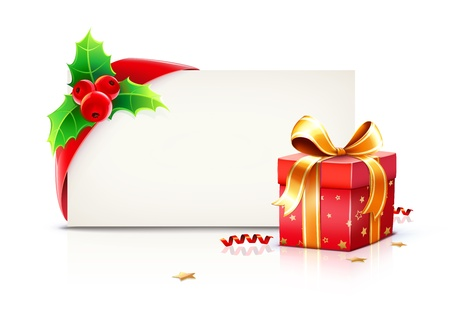 wrapped around: illustration of shiny red gift ribbon wrapped around a rectangle like a present or letter with Christmas elements