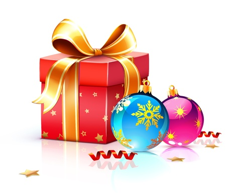 illustration of funky gift box and cool Christmas decorations