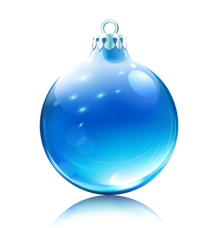 christmas ball:  illustration of cool blue Christmas decoration