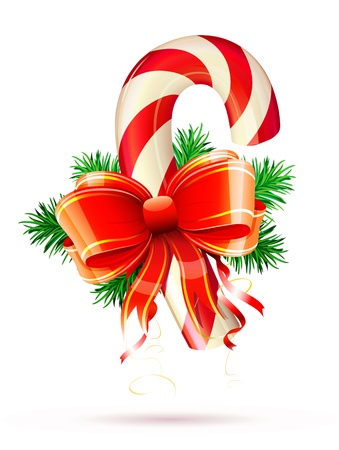 candycane: illustration of shiny red Christmas candy cane with bow and evergreen branches Illustration