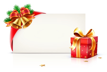illustration of shiny red gift ribbon wrapped around a rectangle like a present or letter with Christmas elements