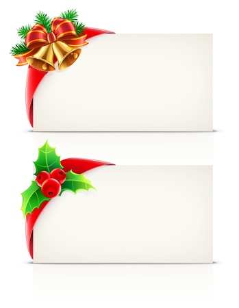 illustration set of shiny red gift ribbon wrapped around a rectangle like a present or letter with Christmas elements