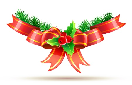 christmas deco: illustration of holly leaves and berries with red bow and ribbons Illustration