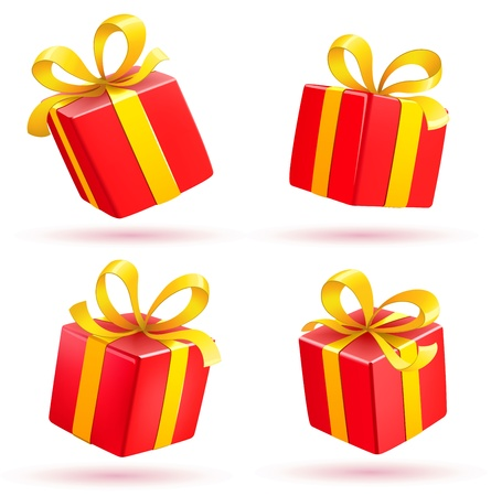 cartoon present: illustration set of shiny red gift boxes