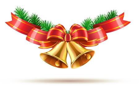 campanas de navidad: Ilustración de campanas de Navidad oro brillantes decorada con lazo rojo y cintas