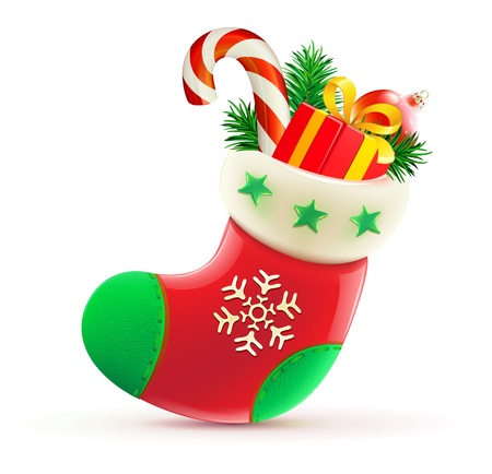 sock: illustration of shiny red Christmas stocking with cool presents