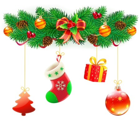 tinsel: Vector illustration of cool Christmas composition with evergreen branches, red bow and ribbon