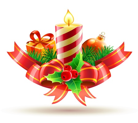 Vector illustration of Christmas decorative composition with red bow,  ribbons, candle, holly leaves and berries Vector
