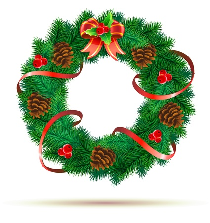holiday garland: Vector illustration of green wreath with red ribbon, pinecones, holly leaves, berries and red bow Illustration