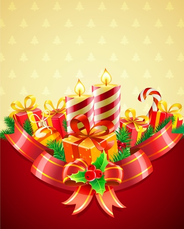 advent candles: Vector illustration of cool Christmas candles and gift boxes with red bow and ribbon