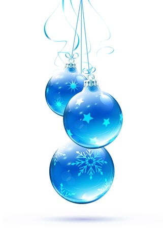 modern christmas baubles: Vector illustration of cool blue Christmas decorations