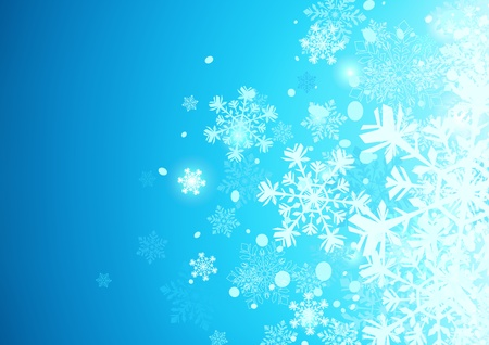 icy: Vector illustration of Blue abstract background with cool snowflakes