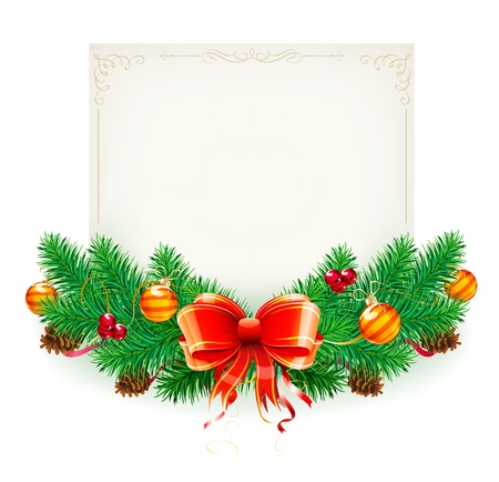Vector illustration of Christmas decorative frame evergreen branches and bow Vector