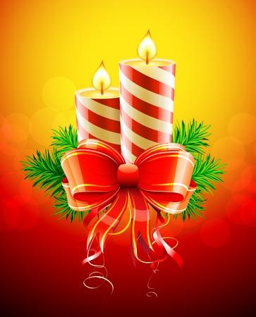luz de velas: Ilustraci�n vectorial de fr�as velas de Navidad con lazo rojo