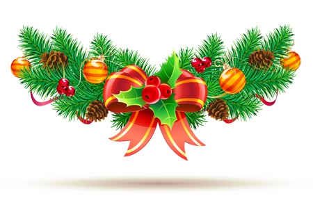 evergreen: Vector illustration of cool Christmas composition with evergreen branches, red bow and ribbon