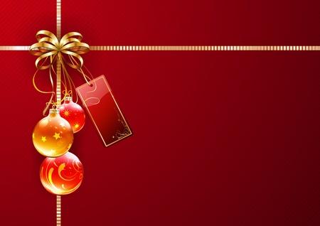 Illustrazione vettoriale di confezioni regalo lucido con nastro dorato, arco, tag rosso vuoto e decorazioni Vettoriali