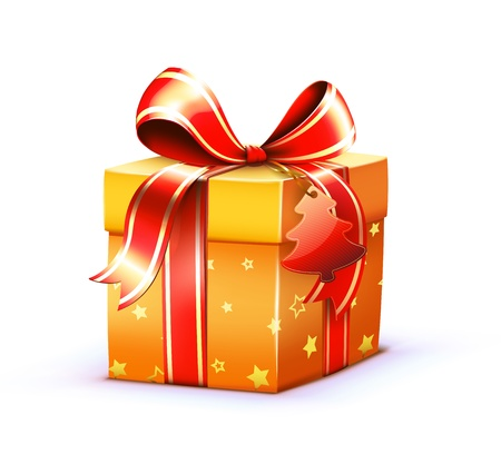 red gift box: Vector illustration of Christmas shiny red gift box