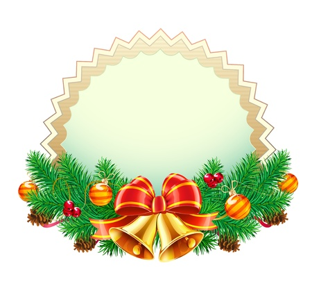 pine needle: Vector illustration of Christmas decorative frame evergreen branches,red bow, ribbons and golden bells