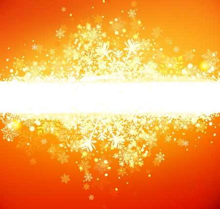 오렌지: 오렌지 배경에 추상 그런 지 크리스마스 배너의 벡터 일러스트 레이 션
