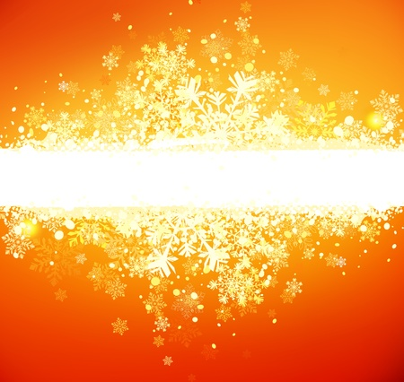 orange banner: Vector illustration of abstract grunge christmas banner on the orange background