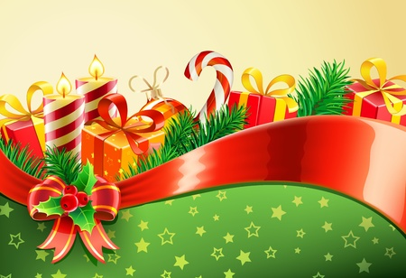Vector illustration of Christmas decorative background with red bow, ribbon, candles, holly leaves and berries Vector