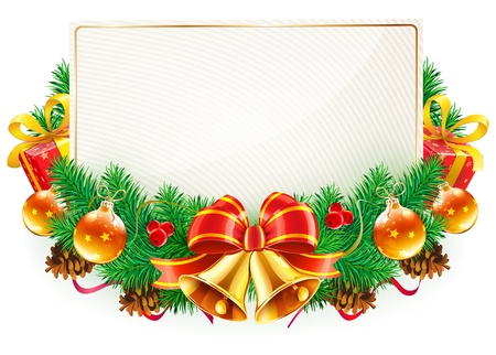 Vector illustration of Christmas decorative frame with evergreen branches,red bow, ribbons and golden bells
