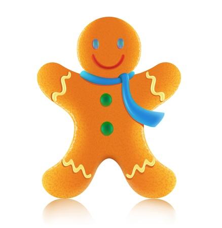 Ilustración vectorial de cookie de hombre de pan de jengibre de Navidad clásica