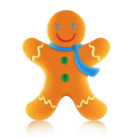 gingerbread cookie: Vector illustration of classic christmas gingerbread man cookie Illustration