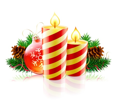 Vector illustration of Christmas decorative composition with evergreen branches, pine cones and candles  Vector