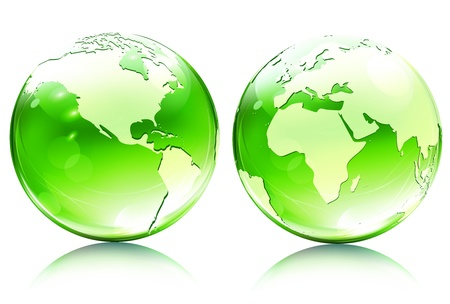 Vector illustration of green glossy earth map globes in different angles  Vector