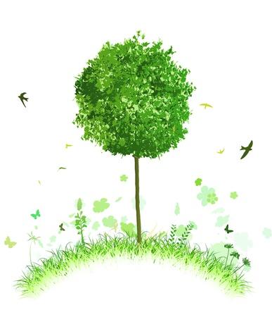 고요한 장면: 잔디와 조류와 양식에 일치시키는 언덕에 단일 트리의 벡터 일러스트 레이 션