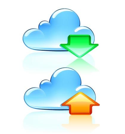 uploading: Illustrazione vettoriale di Cloud Hosting Icone