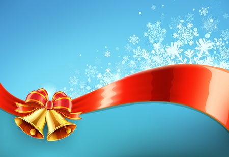 campanas de navidad: Ilustración vectorial de fondo azul abstracto de Navidad con copos de nieve fresca, cinta roja y dos campanas de oro Vectores