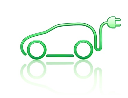 electric automobile:  illustration of electric powered car symbol Illustration