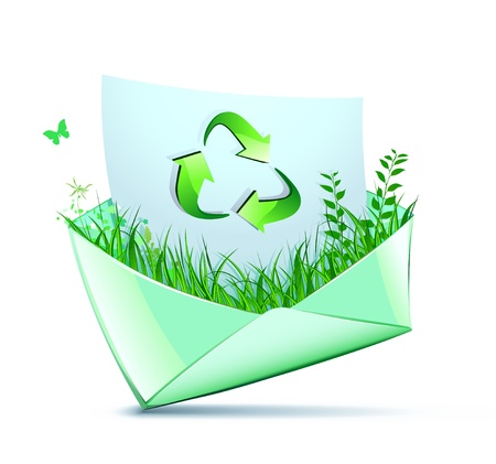 illustration of green concept with recycling symbol coming out from a envelope