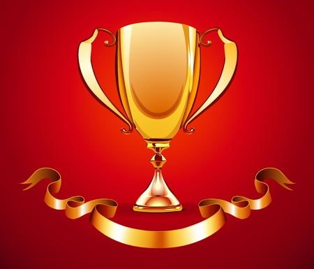award trophy: illustration of golden trophy with ribbon badge to put a text