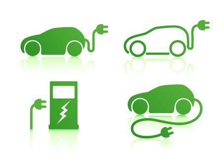 electric vehicle: Illustrazione vettoriale di auto elettrica alimentata e icone dei punti di ricarica Vettoriali