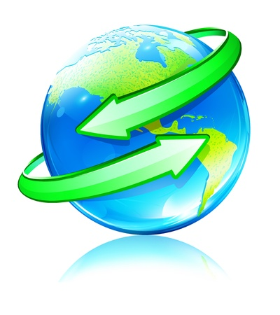 energy conservation: Vector illustration of Glossy Earth Map Globe with green Arrows