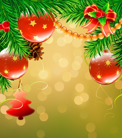 pine needles: Vector illustration of Christmas decorative background with evergreen branches, pine cones and  Christmas decoration