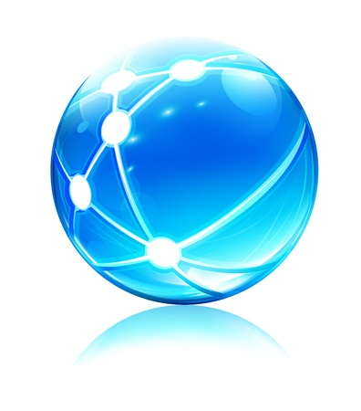 spherule: Vector illustration of glossy sleek and shiny network sphere icon