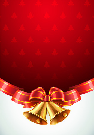 Vector illustration of Christmas decorative background with two golden bells, red bow and ribbon Vector