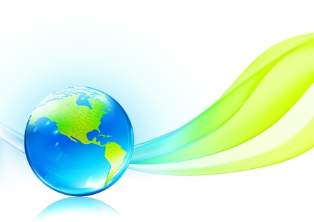 Vector illustration of abstract background with glossy earth globe   Stock Vector - 11132987