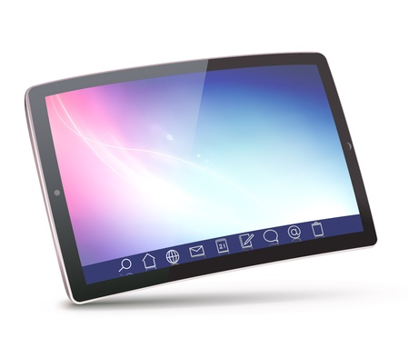 toolbar: Vector illustration of classy tablet PC with icons on a toolbar