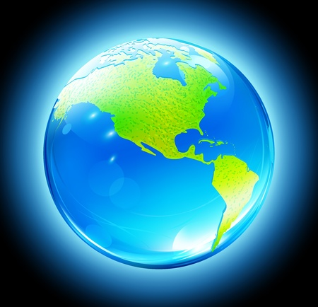 Vector illustration of Glossy Earth Map Globe on dark blue glowing background