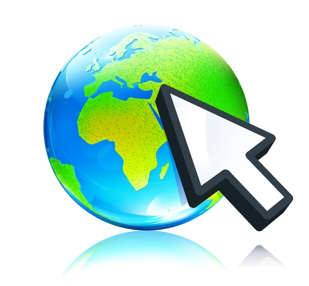 Vector illustration of cursor mouse hand pointing to glossy earth map globe Vector
